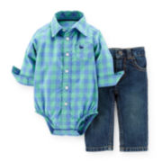 Carter's® Roll-Cuff-Sleeve Bodysuit and Jeans Set – Boys newborn-24m