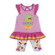 Nanette Baby Flutter-Sleeve Tunic and Leggings Set–Girls 2t-4t