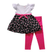 Youngland® Flutter-Sleeve Crochet Tunic and Leggings Set - Girls 2t-4t