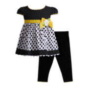 Youngland® Cap-Sleeve Dress and Leggings Set – Girls 2t-4t