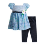 Youngland® Cap-Sleeve Dress and Leggings Set - Girls 2t-4t