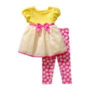 Youngland® Cap-Sleeve Dress and Leggings Set – Girls 2t-4t