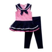 Youngland® Sleeveless Dress and Leggings Set – Girls 2t-4t