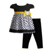 Youngland® Cap-Sleeve Dress and Leggings Set – Girls 4-6x