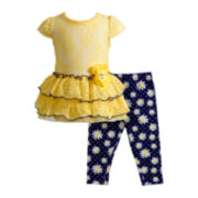 Youngland® Cap-Sleeve Tunic and Leggings Set – Girls 4-6x