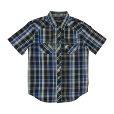 jcpenney.com | Chalc® Short-Sleeve Button-Front Plaid Poplin Shirt - Boys
