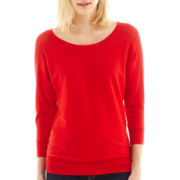 a.n.a® 3/4-Sleeve Pointelle-Neck Sweater - Tall
