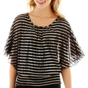 by&by Elbow-Sleeve Foil-Print Top