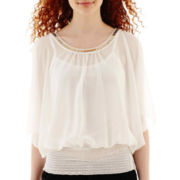 by&by Dolman-Sleeve Cold-Shoulder Neck-Trimmed Top