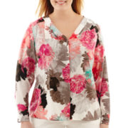 Worthington® Long-Sleeve V-Neck Print Blouse - Plus