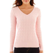 St. John's Bay® Long-Sleeve V-Neck Cable Sweater - Tall