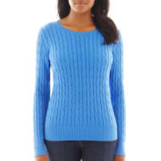 St. John's Bay® Long-Sleeve Crewneck Cable Sweater - Tall
