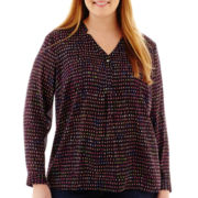 Liz Claiborne Long-Sleeve Henley Blouse with Cami - Plus