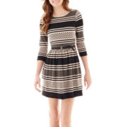 Love Reigns 3/4-Sleeve Textured Knit Print Dress