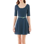 City Triangles® Elbow-Sleeve Polka Dot Dress