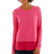 a.n.a® Long-Sleeve Chiffon-Back Tee