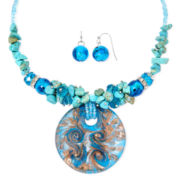 Mixit™ Blue Seed Bead Earring and Pendant Necklace Set