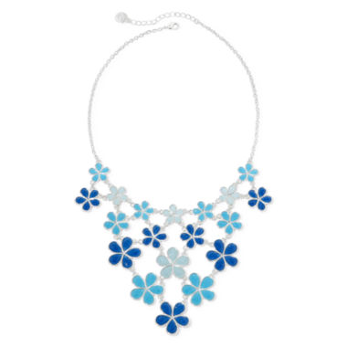 jcpenney.com | Liz Claiborne® Blue Flower Silver-Tone Collar Bib Necklace