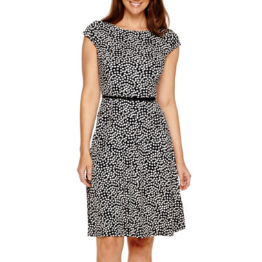 jcpenney.com | Black Label by Evan-Picone Cap-Sleeve Polka Dot Fit-and-Flare Dress