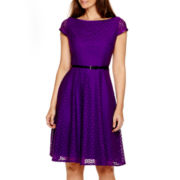Evan-Picone Cap-Sleeve Fit-and-Flare Lace Dress