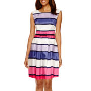 Danny & Nicole® Sleeveless Stripe Fit-and-Flare Dress
