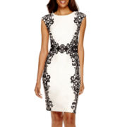 R&K Originals® Sleeveless Floral Print Sheath Dress