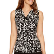 Black Label by Evan-Picone Sleeveless Printed Cowlneck Blouse