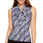 Evan-Picone Sleeveless Printed Bow Blouse