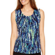 Black Label by Evan-Picone Sleeveless Printed Blouse
