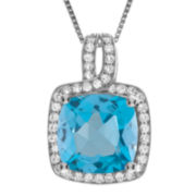 Genuine Blue Topaz and White Sapphire Halo Pendant Necklace
