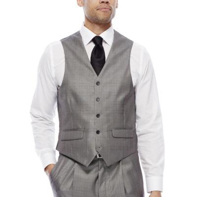 Steve Harvey® Black & White Plaid Vest - Classic