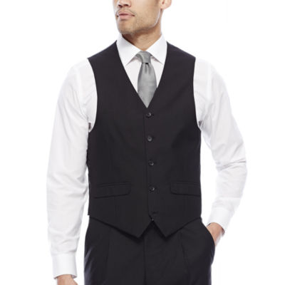 Steve Harvey® Black Herringbone Suit Vest