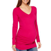 a.n.a® Maternity Long-Sleeve V-Neck Ruched-Side T-Shirt