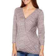 Maternity 3/4-Sleeve Faux-Wrap Blouse