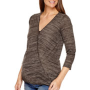 Maternity 3/4-Sleeve Faux-Wrap Blouse - Plus