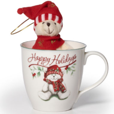jcpenney.com | Pfaltzgraff® Winterberry Mug with Stuffed Bear Ornament Gift Set