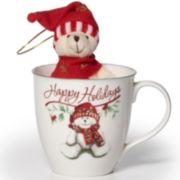 Pfaltzgraff® Winterberry Mug with Stuffed Bear Ornament Gift Set