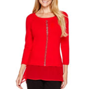 Worthington® Long-Sleeve Embellished Sweater - Tall
