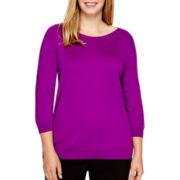 Worthington® 3/4-Sleeve Boatneck Sweater - Plus