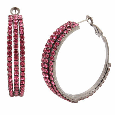 jcpenney.com | Bleu NYC Pave Stone Coil Hoop Earrings