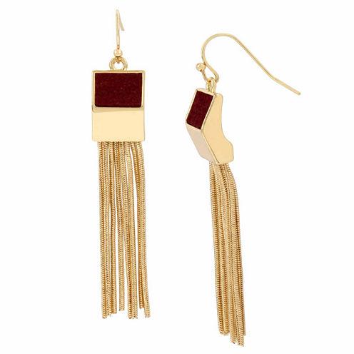 Worthington Black Gold Tassel Earrings