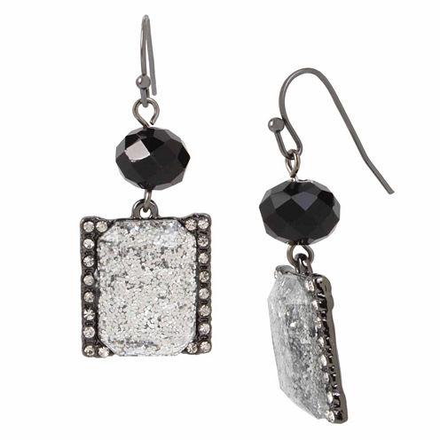 Mixit Square Glitter Drop Earrings