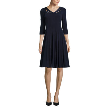 jcpenney.com | Rabbit Design 3/4 Sleeve Fit & Flare Dress