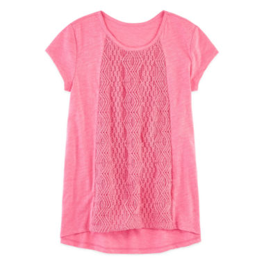 jcpenney.com | Arizona Short Sleeve Crochet Top - Girls 7-16 and Plus