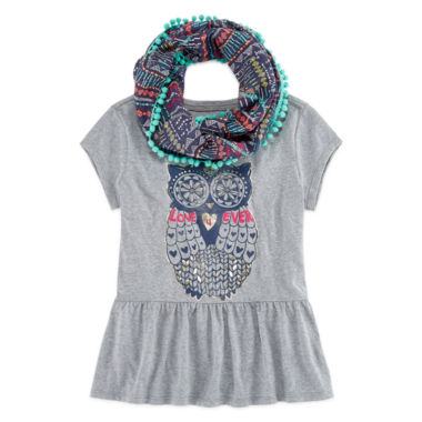jcpenney.com | Arizona Graphic Peplum Top with Scarf - Girls 7-16 and Plus