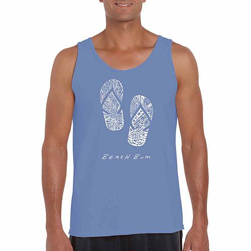 Los Angeles Pop Art Beach Bum Short Sleeve Crew Neck T-Shirt-Big and Tall