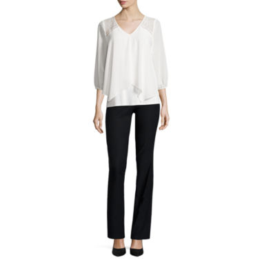 jcpenney.com | BY 3Q SLV LACE SHLDR TOP WITH BY CONSTRUCTED WAIST MILLENIUM PANT
