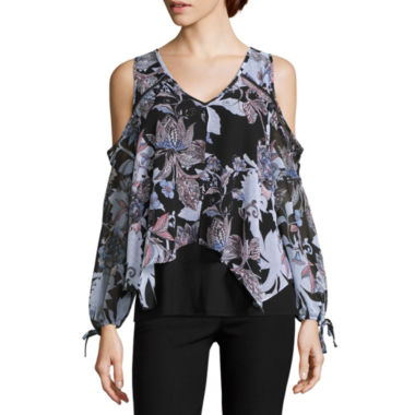 jcpenney.com | by&by Long Sleeve Chiffon Blouse-Juniors