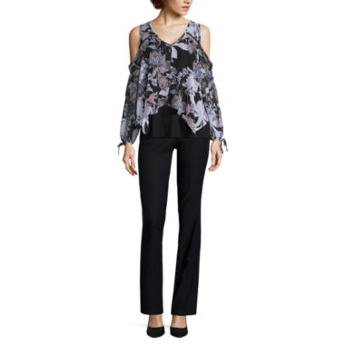 jcpenney.com | BY PRINTED COLD SHOULDER TOP WITH BY CONSTRUCTED WAIST MILLENIUM PANTS