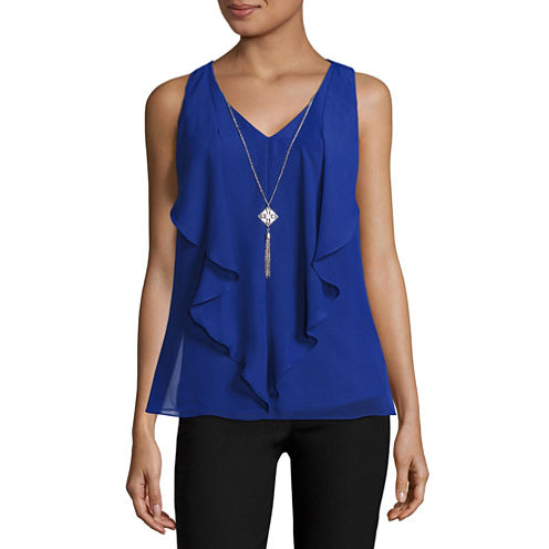 by&by Sleeveless V Neck Georgette Blouse-Juniors